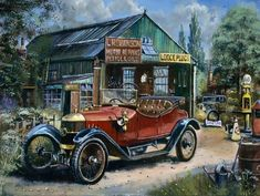 Vintage Cars, Antique Cars, Car Themes, Truck Art, Old Classic Cars, Car Painting, Gas Station, Old Cars, Car Pictures