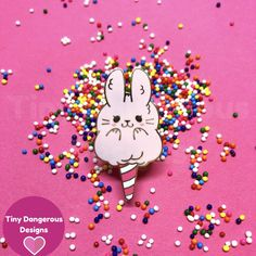 Cottontail Candy - Hard Enamel Pin by TinyDangerousDesigns on Etsy
