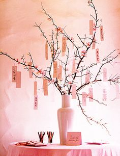 A wishing tree..... love the idea of doing a take on a wishing tree... why not have this as your centerpiece and have guests write spiritual thoughts or guidance for her.