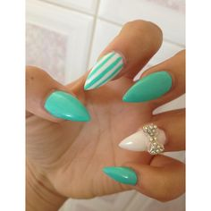 Tiffany inspired stiletto nails woth bow