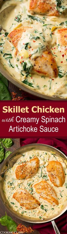 Skillet Chicken with Creamy Spinach Artichoke Sauce - this chicken is SO GOOD! Made it twice this week, my family loved it! Skillet Chicken with Creamy Spinach Artichoke Sauce - this chicken is SO GOOD! Made it twice this week, my family loved it! Chicken Artichoke Recipes, Creamy Spinach Chicken, Cast Iron Chicken Recipes, Meals With Chicken, Creamy Spinach Sauce, Half Chicken, Spinach Artichoke Chicken, Sour Cream Chicken, Gastronomia