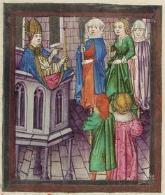Aschaffenburg Ms. 12, fol 145v Pontifikale für den Erzbischof von Mainz, Adolf II. Entstanden zwischen 1466 und 1470. Dem Meister der Gauklerszene im Hausbuch zugeschrieben und daher wichtig für die Datierung des Wolfegger Hausbuchs.