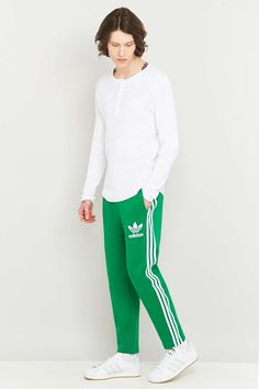 adidas Adicolor Green and White Track Pants