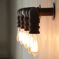 4 Head Water Pipe Industrial Wall Light #E27 #edison #edison-bulb