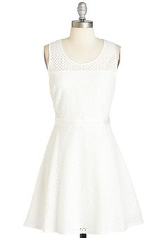 All Eyelets On You Dress. Take center stage anywhere you go in this bright white frock from Jack by BB Dakota. #white #modcloth