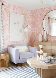 pink walls, lavender chair, and fur accents