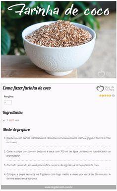Como fazer farinha de coco - Blog da Mimis - Muito utilizada nas dietas lowcarbs e sem glúten, a farinha de coco vem ganhando bastante espaço na nossa alimentação saudável. #coco #farinha #dieta #emagrecer
