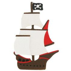 To draw on bulletin board?? Dimensional Sailing Pirate Ship Painted Wood by LakeHouseStudio, $2.95