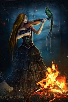 Mädchen spielen die Geige. - Animation für Ihr Handy №1379543