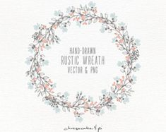 This rustic floral wreath is hand drawn with love. It looks lovely on wedding stationery, but of course is not limited to that. Youll receive the