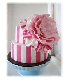 Pink Candy Striped Little Cake With Huge Flower