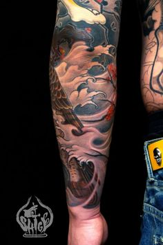 sleeve - Yellowblaze tattoo studio by Shige. I want to see the other side of this. Great work on the wave/fog.