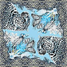 JoJo Preechapakorn's line drawing *Jungle Frame, vintage blue  *Silk twill scarf pattern  *Wild inspire & vintage shade color  *Original hand drawn*JoJo Preechapakorn*  #silkscarf #luxuryscarf #leopardscarf #jojopreechapakorn