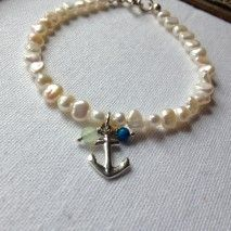 Pearl and Silver Anchor Bracelet