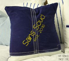 I recently used a piece of old sailcloth and recyled it into a sweet coastal pillow. Check out this sailcloth pillow I made for my beach house. Sewing For Kids, Free Sewing, Cool Diy Projects, Craft Projects, Craft Ideas, Sailing Outfit, Knit Pillow, Old T Shirts, Pinterest Diy