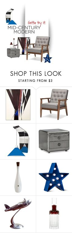 """""""Mid-Century Modern: Try it!"""" by saphiralol ❤ liked on Polyvore featuring interior, interiors, interior design, home, home decor, interior decorating, Baxton Studio, WAC Lighting, Thos. Baker and POPTIMISM!"""
