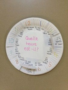In Year 6 we have been learning about time. To help the children, we created French teaching clocks using paper plates with o'clock times on the top and the minutes past and other vocabulary … Teaching Clock, Teaching Time, Teaching Activities, Teaching Ideas, French Teaching Resources, Teaching French, How To Speak French, Learn French, French Flashcards
