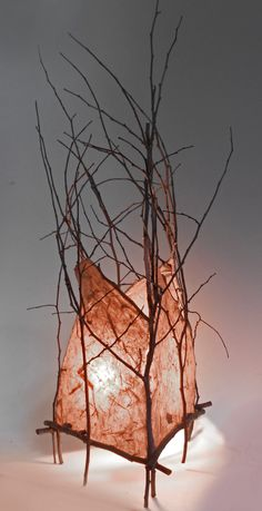 Handmade paper with a rose tint and maple branches from IlluminationbyDesign.com