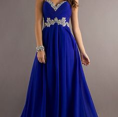 Royal blue dress with silver flower details