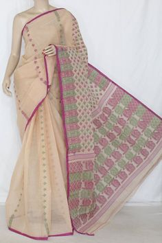 Fawn Pink Handwoven Bengali Tant Cotton Saree (Without Blouse) 13875