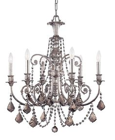 Limited Availably!! While Supplies Lasts! DIMENSIONS: w26 x h30 (in) TOTAL NUMBER LIGHTS: 1 EXTERNAL LIGHTS: 1 TOTAL WATTAGE: 60 BULB TYPE: Candelabra MATERIAL: Wrought Iron FINISH: Olde Silver CHAIN