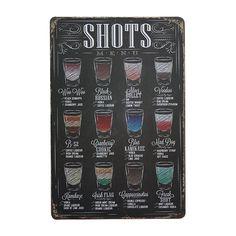 "Discounted TODAY:https://www.rousetheroom.com/products/old-bar-sign-menu ""Shots Menu"" Bar Signs Decor"