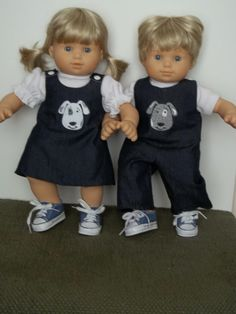 Blue denim outfits fit Bitty Twins by SewQT on Etsy, $28.00