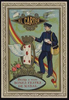 El Carter desitja a vostè Bones Festes de Nadal. Segle XX. Fons Palau Antiguitats #Nadal #Christmas #greeting #card