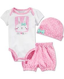 First Impressions Baby Girls' 3-Piece Bunny Bodysuit, Shorts & Hat Set, Only at Macy's