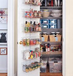 PANTRY PERFECT  Transfer dry foods, such as pasta, rice, and beans, into plastic or glass containers. Eliminating the bulky packaging saves space, the airtight bins keep food fresh, and you can view the contents at a glance.