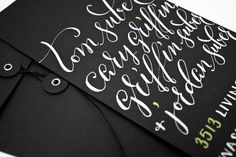 white and green calligraphy on black paper // by Plurabelle