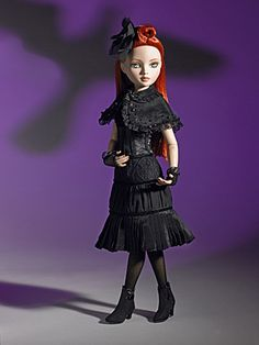 Nevermore | Wilde Imagination Redhead Ellowyne with blue painted eyes. Outfit includes a designer dress with bottom pleats, lined capelet with ribbon, lace gloves, stockings, short boots, and matching hair bow. LE 1,000 A 2008 Doll of the Year Winner!  Debut Date:  Summer 2007