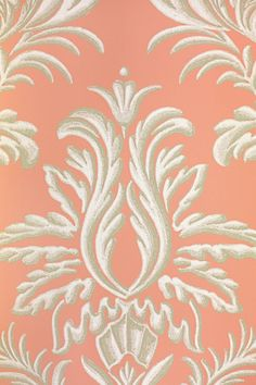 Ardwell Wallpaper A damask resembling plasterwork on a contrasting background, in coral and white.