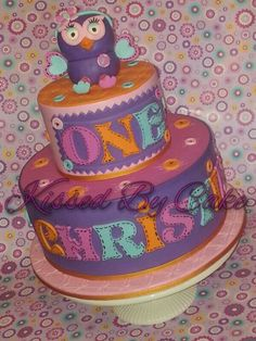Hootabell cake Birthday Ideas, Birthday Parties, Birthday Cake, Cake Decorating, Owl, Party Ideas, Cakes, Anniversary Ideas, Birthday Cakes