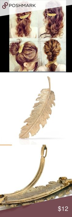 Leaf Feather Hair Clip Hairpin Barrette Bobby Pin NWT  Leaf Feather Hair Clip Hairpin Barrette Bobby Pins Women Hair Accessories. Never been used. Indian Accessories Hair Accessories