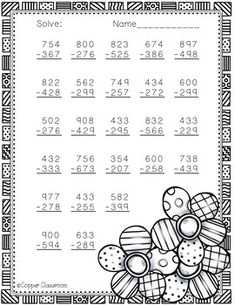 Spring Themed 3 Digit Subtraction With Regrouping by Copper Classroom 3rd Grade Math Worksheets, Addition And Subtraction Worksheets, Printable Math Worksheets, 2nd Grade Classroom, Math Classroom, Abacus Math, Math Exercises, Math Drills, Math Sheets
