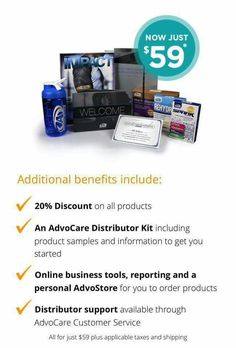 This is the cheapest I've EVER seen the Distributor package! Make a life changing decision for yourself and join today to start changing lives. If you are interested in trying products and seeing how incredible this company is reach out to me at https://www.advocare.com/16095531/
