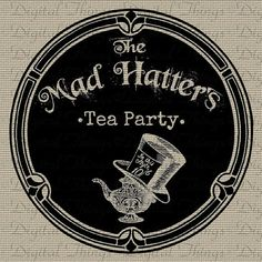 Alice In Wonderland Mad Hatter Tea Party Digital Download for Iron on Transfer for Tea towels as take aways?