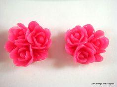 6 Fushia Resin Cabochon Beads Flower Triple Rose Cluster 16mm - No Holes - 6 pc - CA2014-F6. $1,50, via Etsy.