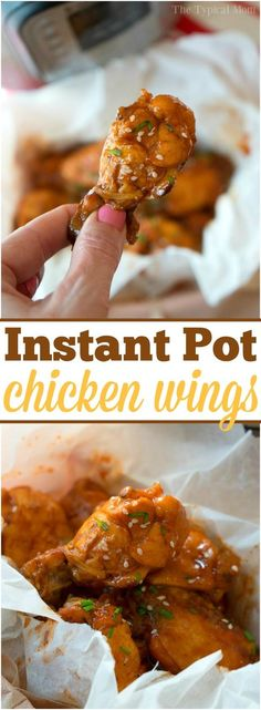 This is how you make tender and delicious pressure cooker frozen chicken wings in your Instant Pot! Makes a great appetizer or dinner in your Instant Pot using your favorite barbecue sauce. Wings are the best finger food we say and with this trick you can make them often. From freezer to dinner in less than 30 minutes! #instantpot #pressurecooker #chicken #wings #frozen #meat #time #cook via @thetypicalmom