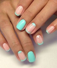 Another wonderful and refreshing minimalist nail art designs is a mint green and nude combination with thin French tips and a smaller half moon.