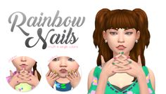 """simlaughlove: """" Rainbow Nails - I've had quite a few asks about my rainbow/multi-color nails and I couldn't share them because they were a personal edit of a mesh that someone else made. They are available for all female sims. Sims 4 Nails, Cc Nails, Sims 4 Cc Skin, Sims 4 Mm Cc, The Sims 4 Bebes, Nail Colors, Color Nails, Divas, Maxis"""