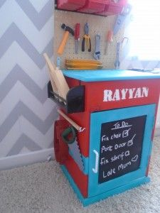 A DIY tool bench upcycled from an old cabinet