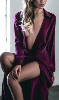 Plum plunging gown