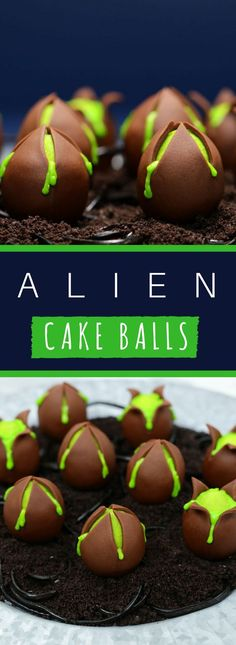 A minty fresh cake recipe molded into delicious green Alien Cake Balls. Make sur… A minty fresh cake recipe molded into delicious green Alien Cake Balls. Make sure to eat them before a Facehugger pops out! Makes 24 cake pops Halloween Desserts, Halloween Cake Pops, Halloween Food For Party, Halloween Treats, Halloween Recipe, Party Desserts, Alien Cupcakes, Alien Cake, Alien Party
