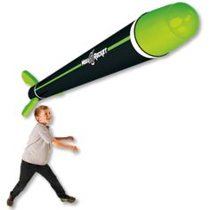 The Mega Rocket is the ultimate in throw and catch.  It inflates to its full 6 feet in seconds.  Throw and catch it up to 100 feet. Perfect for the park, pool or beach.  Play target games or catch or just see how high you can make it go.  Ages 6 and up