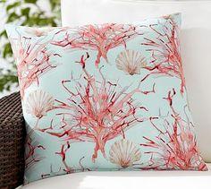 Coral Print Indoor/Outdoor Pillow #potterybarn