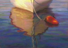 Orange Buoy Boat Pastel Painting Seascape, painting by artist Nancy Poucher