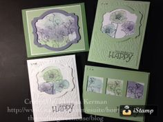 These cards use the Happy Watercolor stamp set, Deco Labels Framelits & Beautifully Baroque embossing folder.
