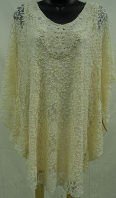 Plus Size 2X SHEER CROCHETED LACE Top STRETCH Shirt LINED Blouse Feminine   NWT…